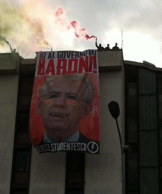 Blocco Studentesco: «No al Governo dei Baroni». Oggi la mobilitazione nazionale contro Monti e spending review