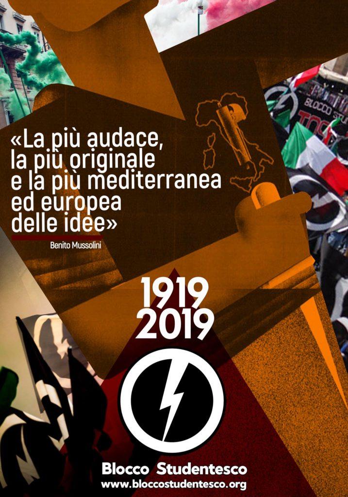 blocco studentesco movimento giovanile casapound celebra anniversario centenario 100 anni fondazione fasci di combattimento fascismo italia italiano mussolini 23 marzo 1919