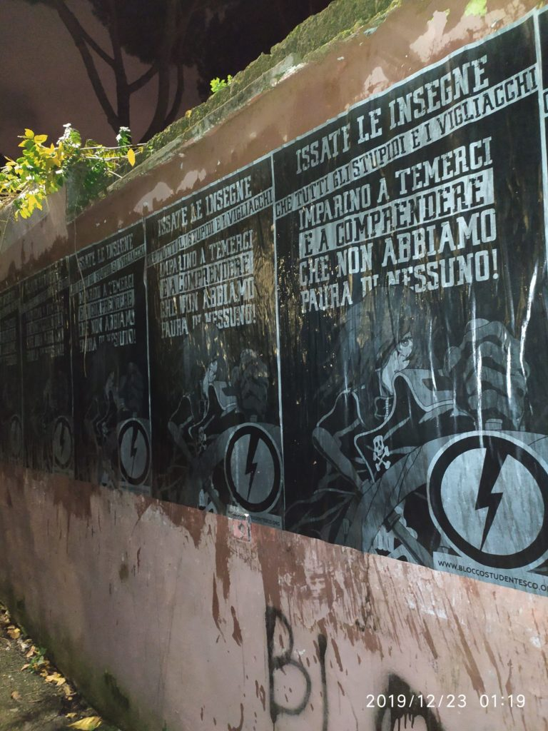 blocco studentesco manifesti capitan harlock Roma Sud