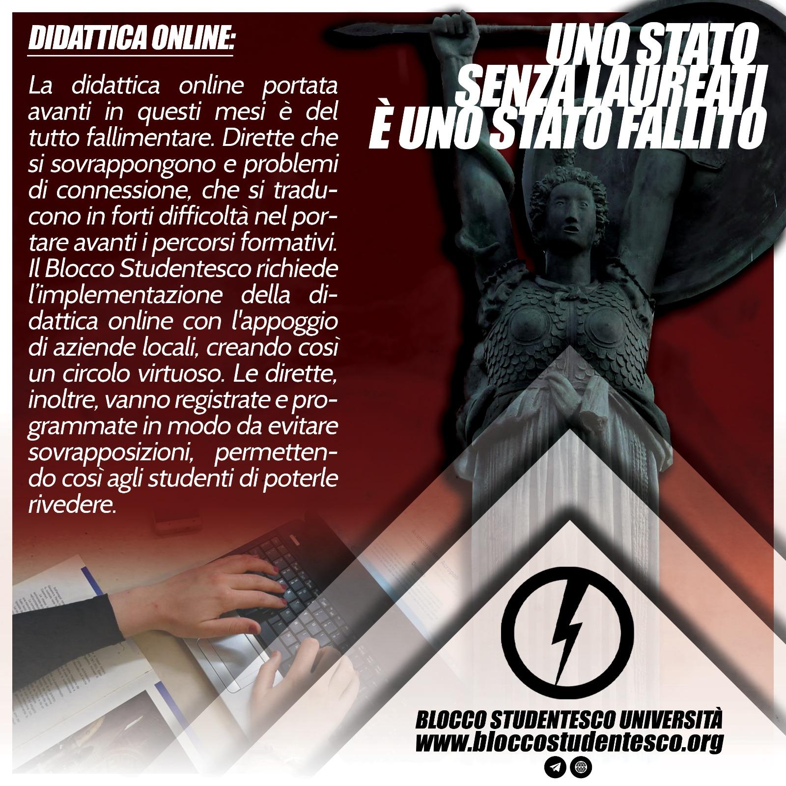 proposta potenziamento didattica online blocco studentesco università covid 19